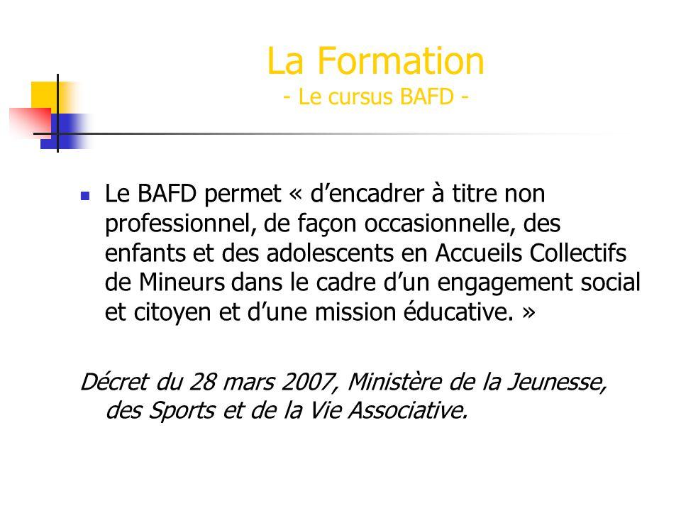 La Formation - Le cursus BAFD -