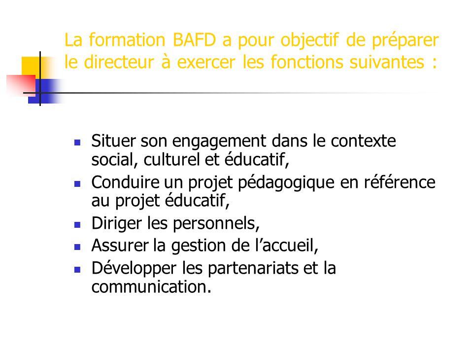 La formation BAFD a pour objectif de préparer le directeur à exercer les fonctions suivantes :