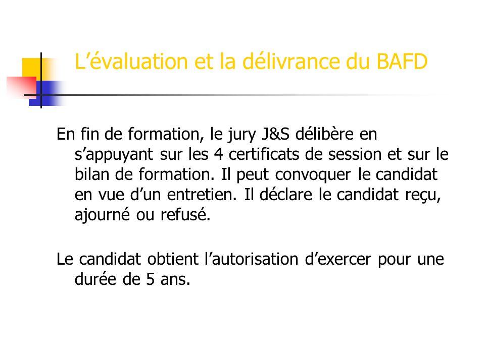 L'évaluation et la délivrance du BAFD