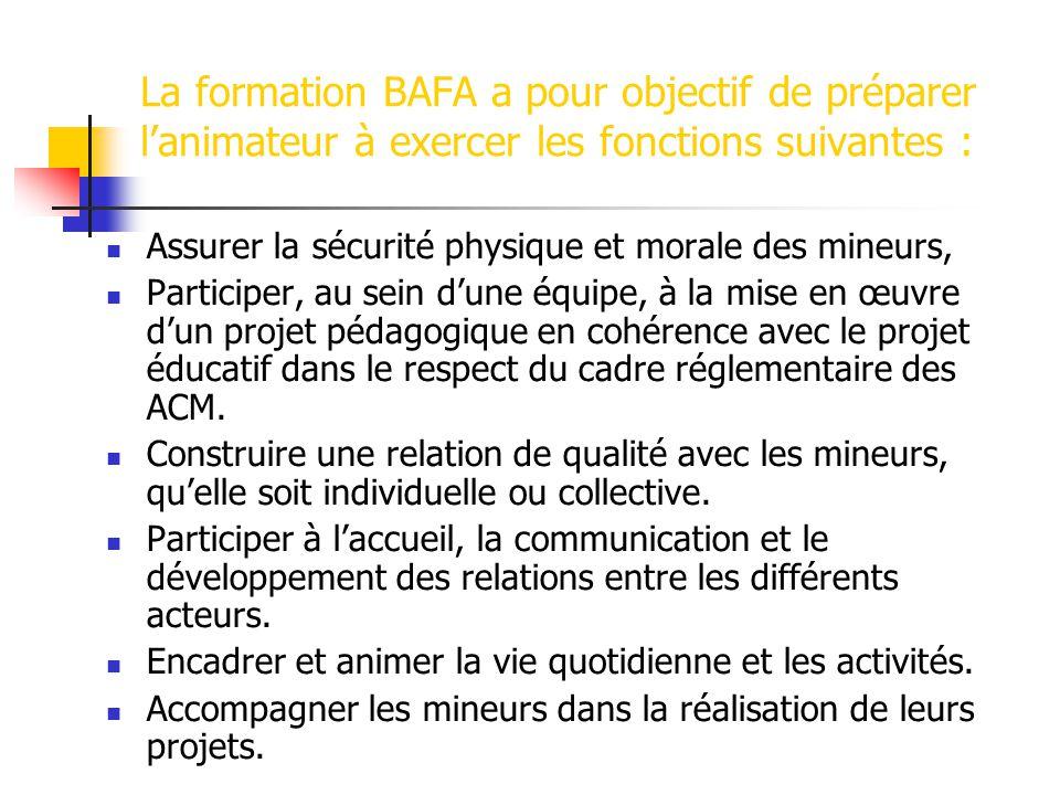 La formation BAFA a pour objectif de préparer l'animateur à exercer les fonctions suivantes :