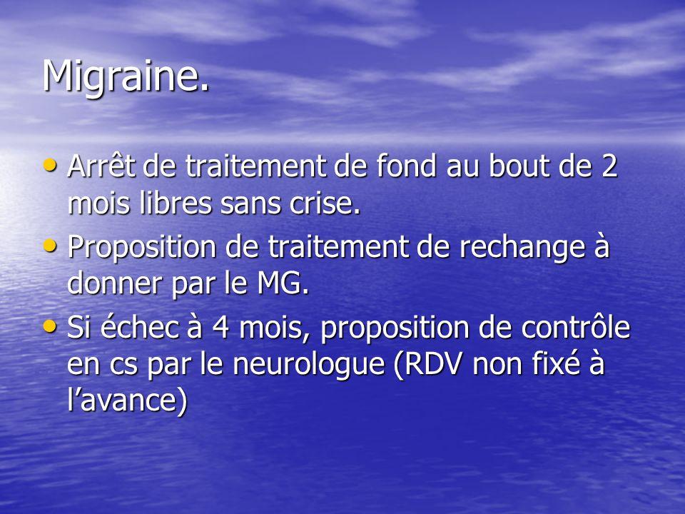 Migraine. Arrêt de traitement de fond au bout de 2 mois libres sans crise. Proposition de traitement de rechange à donner par le MG.