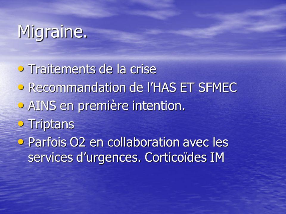 Migraine. Traitements de la crise Recommandation de l'HAS ET SFMEC