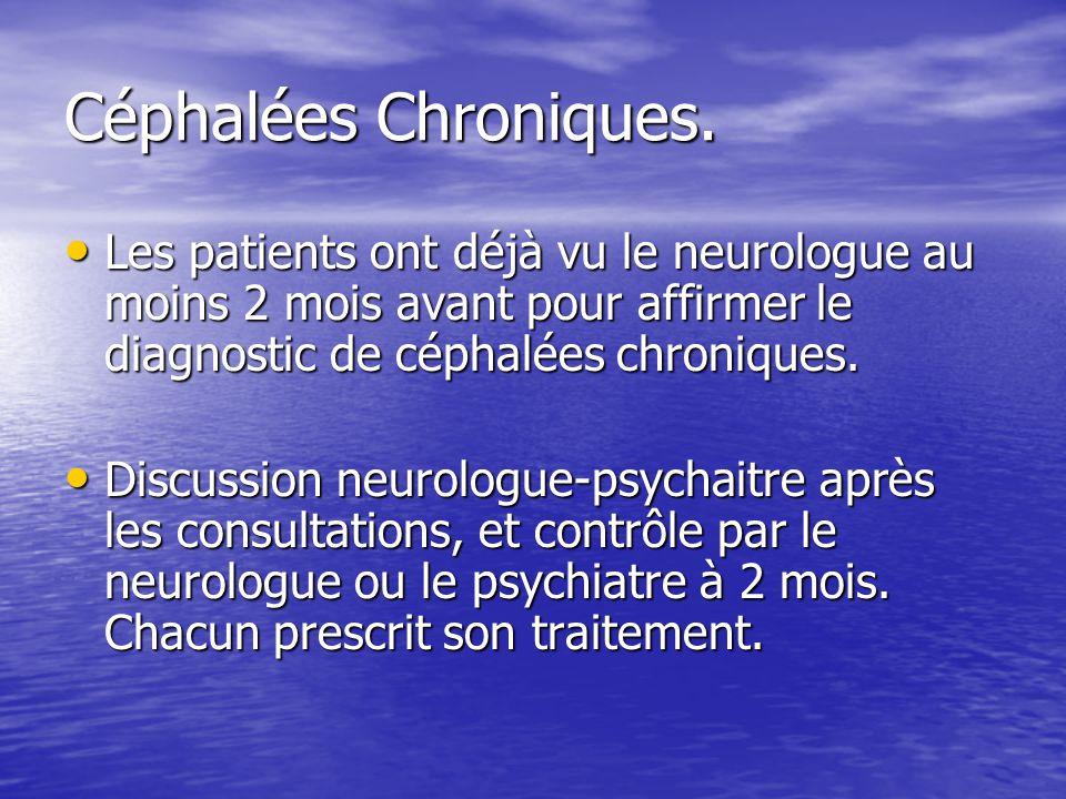 Céphalées Chroniques. Les patients ont déjà vu le neurologue au moins 2 mois avant pour affirmer le diagnostic de céphalées chroniques.