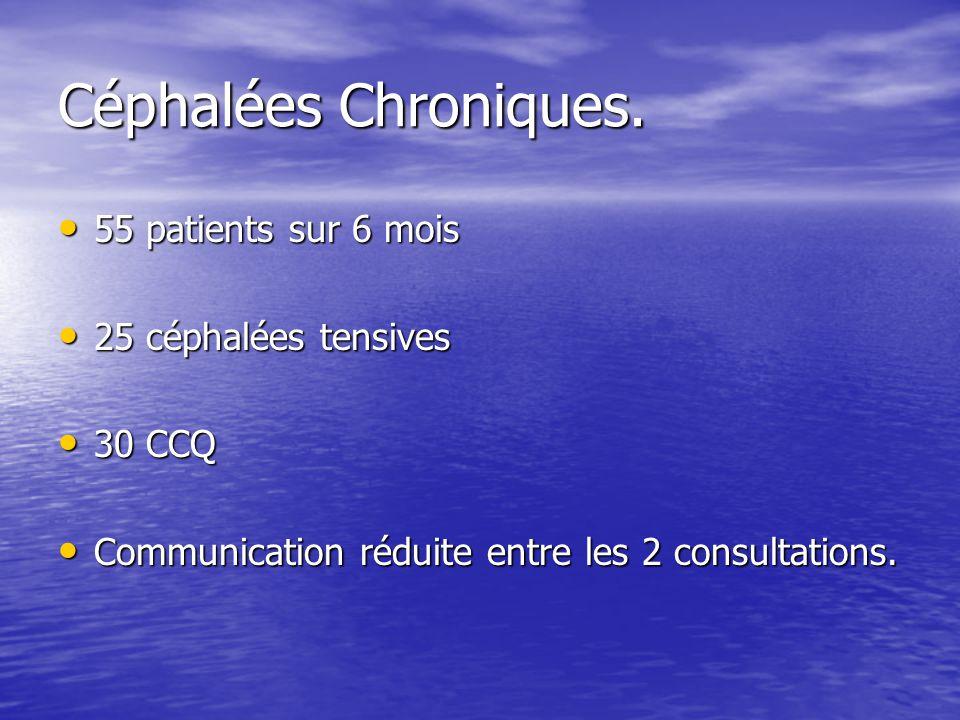 Céphalées Chroniques. 55 patients sur 6 mois 25 céphalées tensives