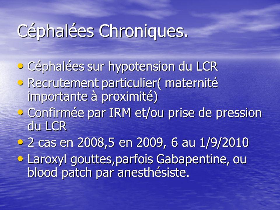 Céphalées Chroniques. Céphalées sur hypotension du LCR