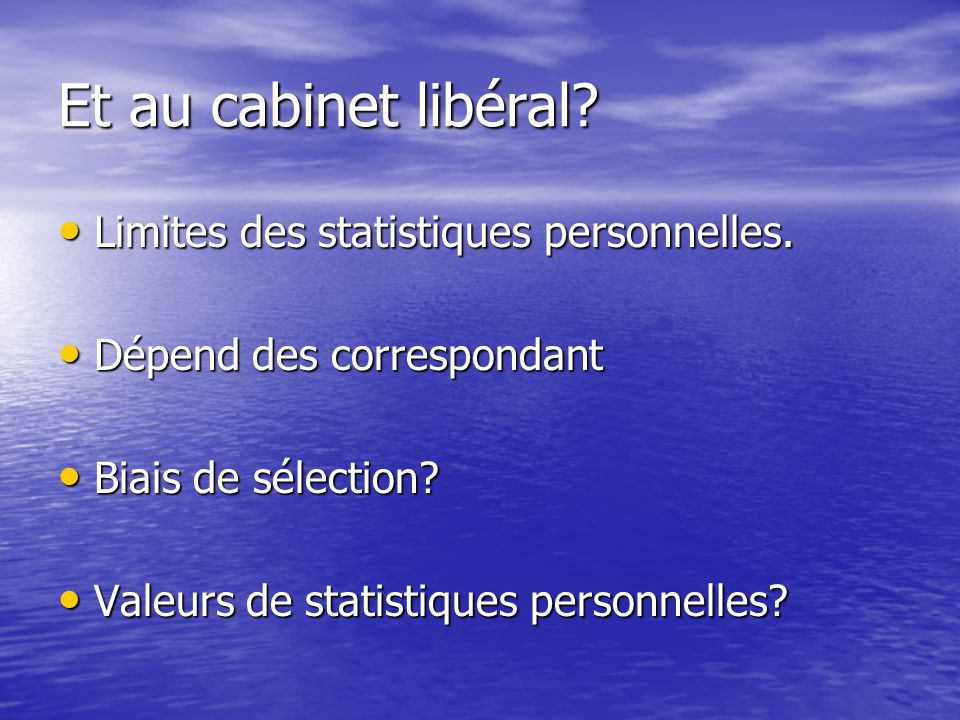 Et au cabinet libéral Limites des statistiques personnelles.