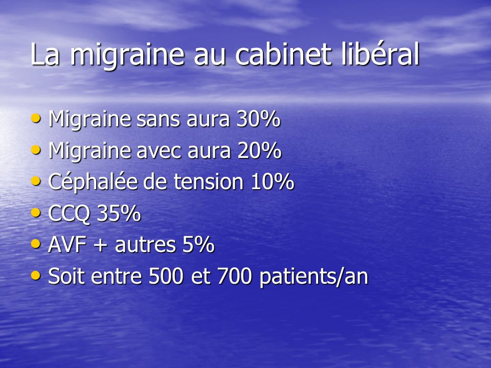 La migraine au cabinet libéral