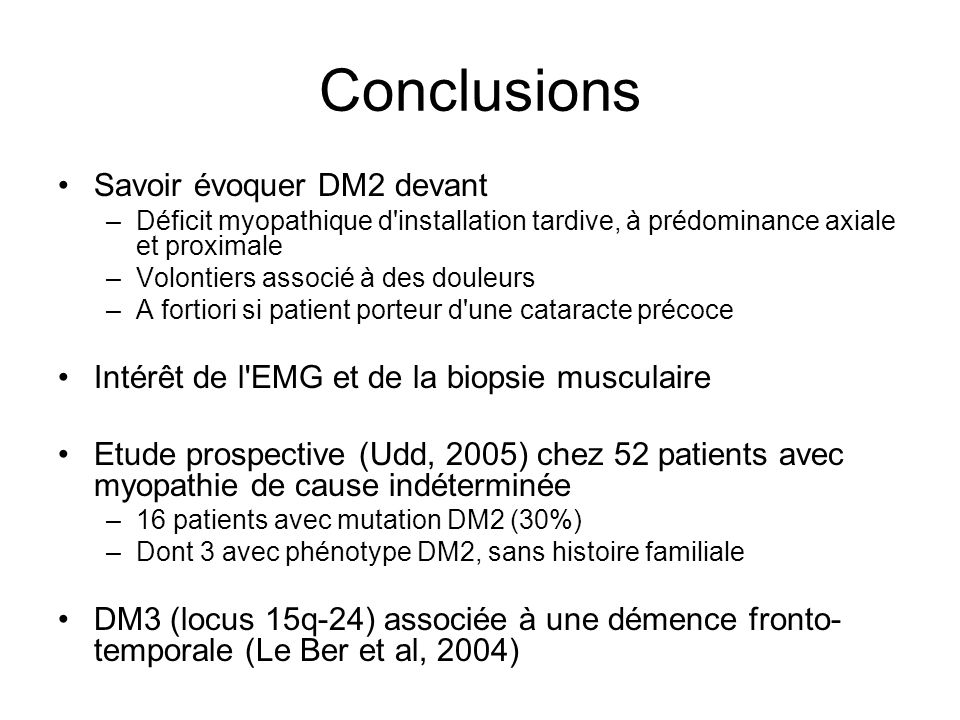 Conclusions Savoir évoquer DM2 devant