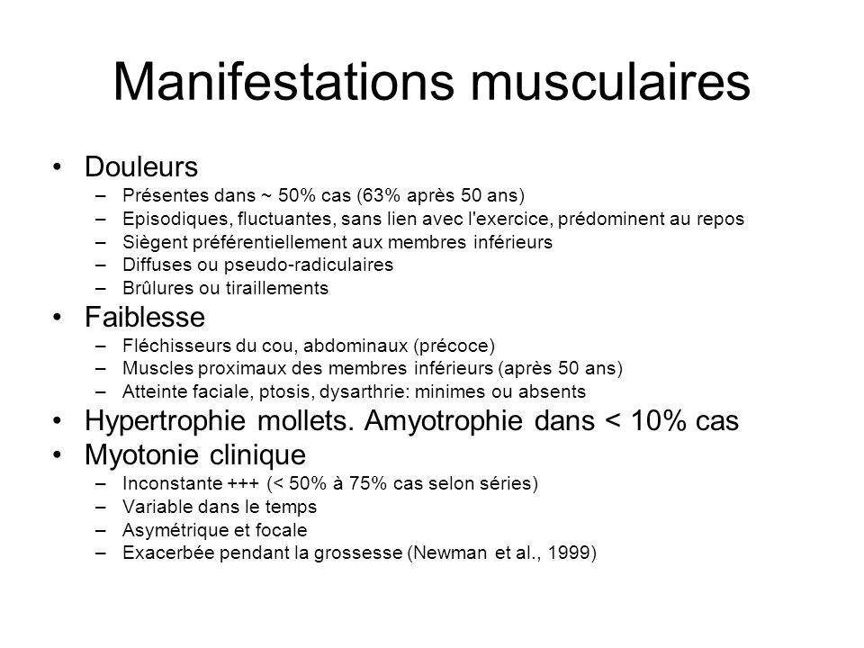 Manifestations musculaires