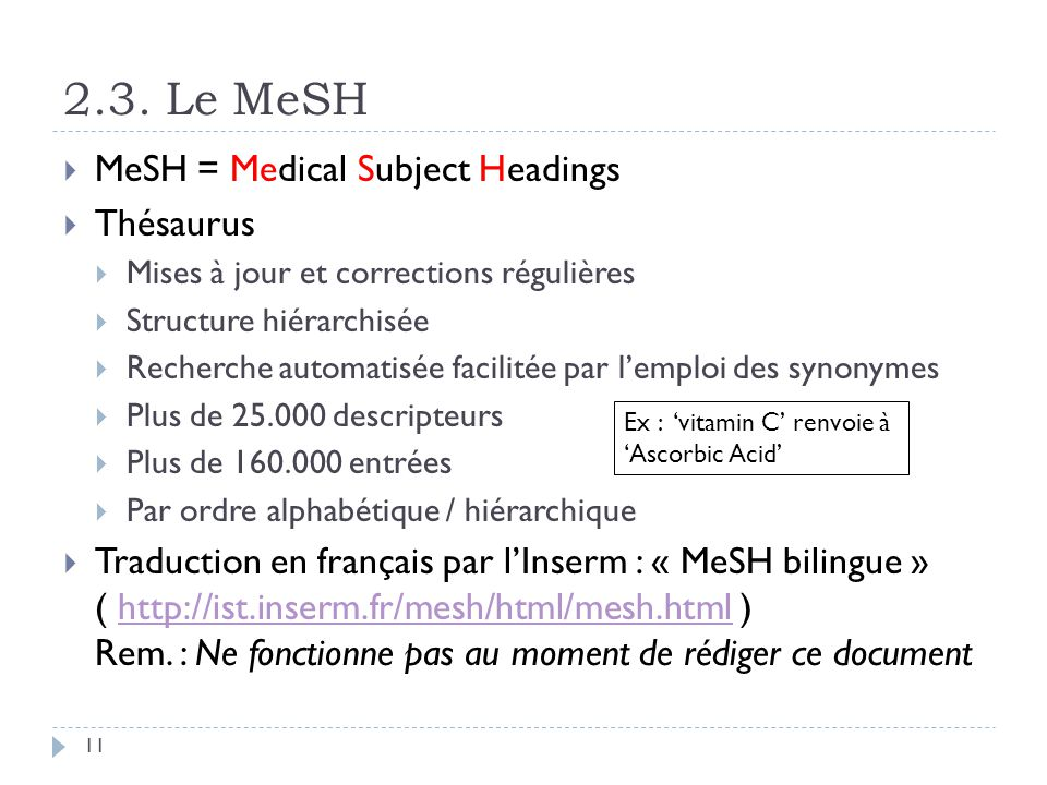 2.3. Le MeSH MeSH = Medical Subject Headings Thésaurus