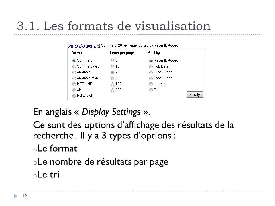3.1. Les formats de visualisation