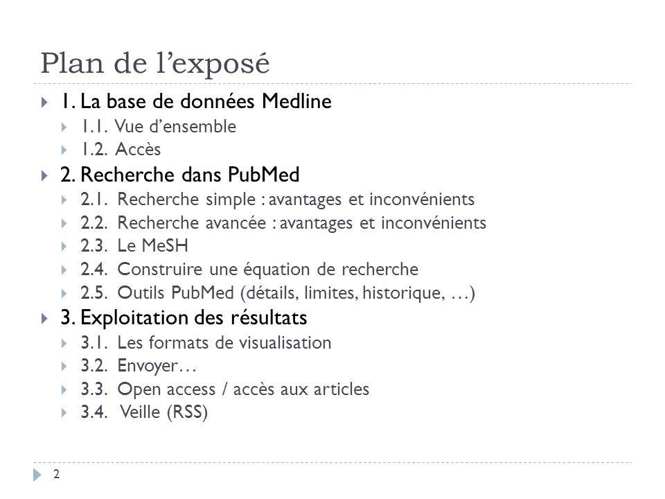 Plan de l'exposé 1. La base de données Medline