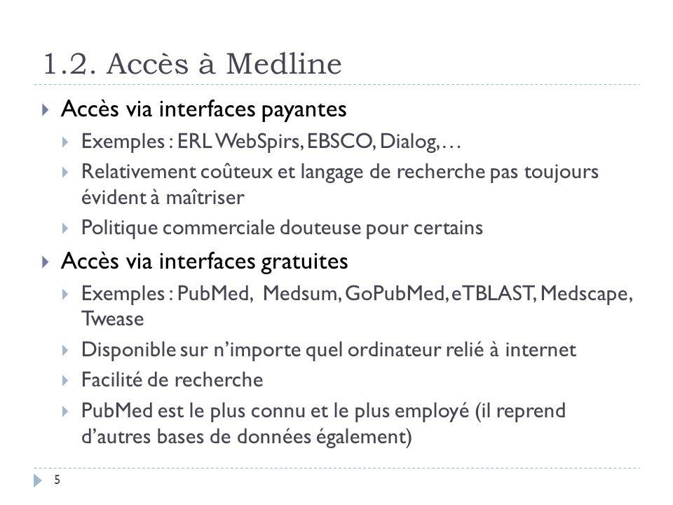 1.2. Accès à Medline Accès via interfaces payantes