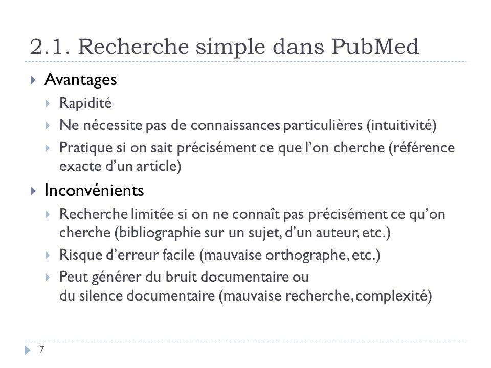 2.1. Recherche simple dans PubMed