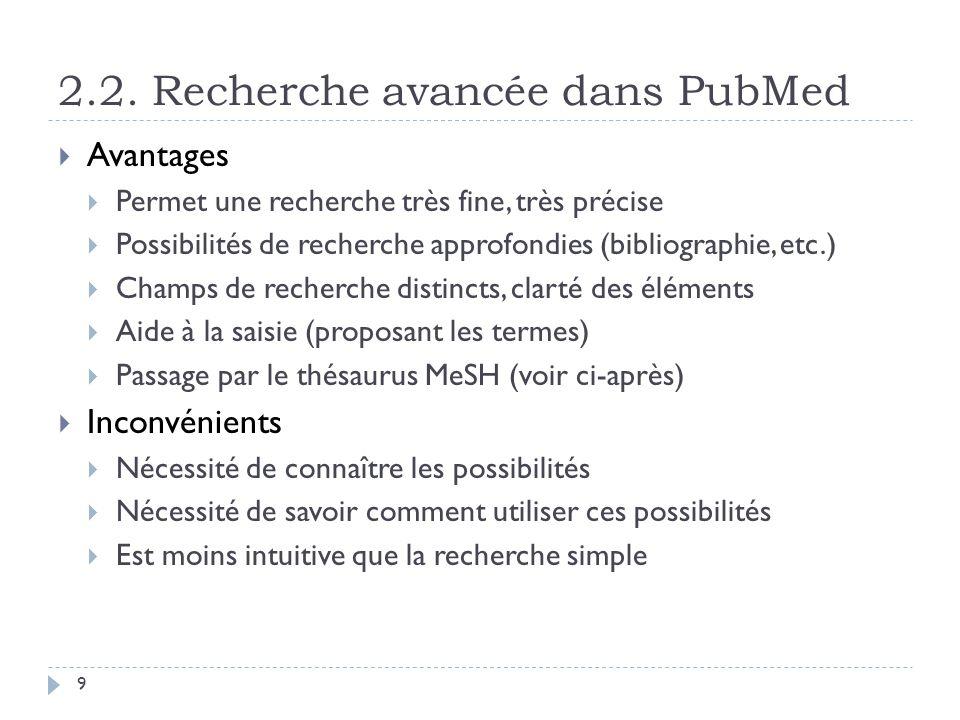 2.2. Recherche avancée dans PubMed