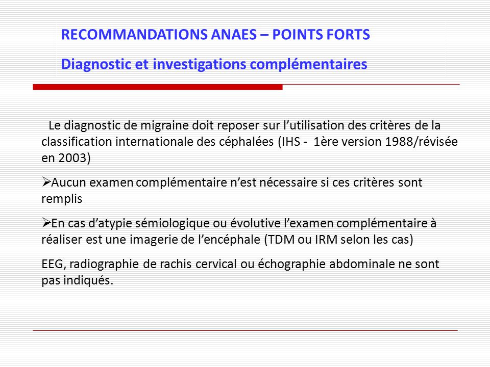 RECOMMANDATIONS ANAES – POINTS FORTS