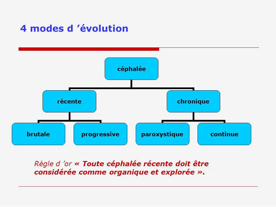 4 modes d 'évolution Règle d 'or « Toute céphalée récente doit être considérée comme organique et explorée ».