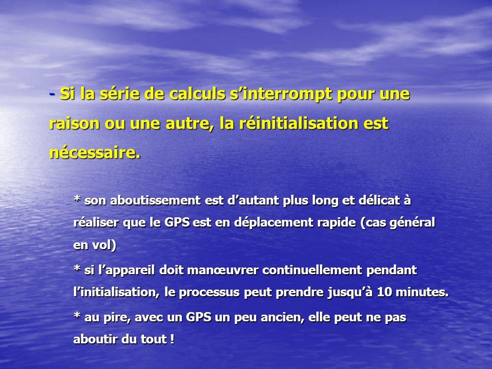 Si la série de calculs s'interrompt pour une raison ou une autre, la réinitialisation est nécessaire.