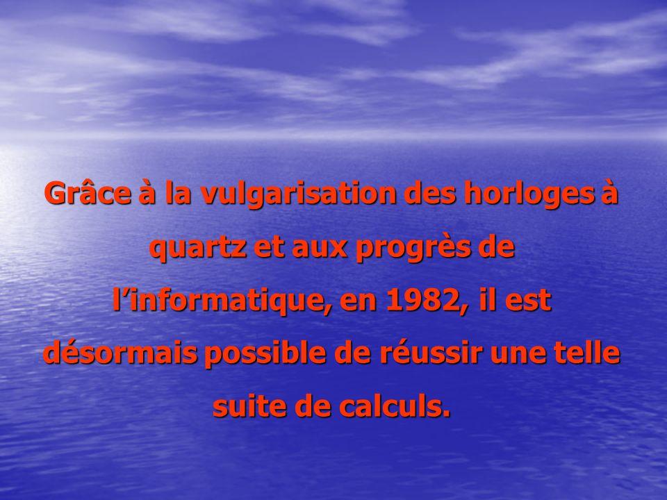 Grâce à la vulgarisation des horloges à quartz et aux progrès de l'informatique, en 1982, il est désormais possible de réussir une telle suite de calculs.