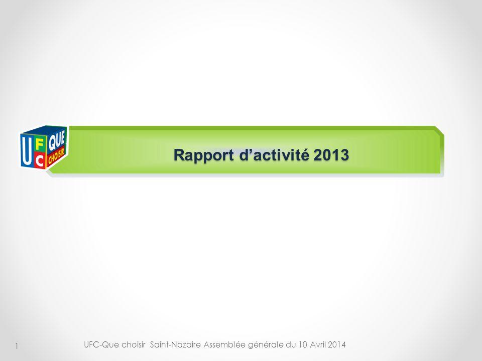 Rapport d'activité 2013 UFC-Que choisir Saint-Nazaire Assemblée générale du 10 Avril 2014