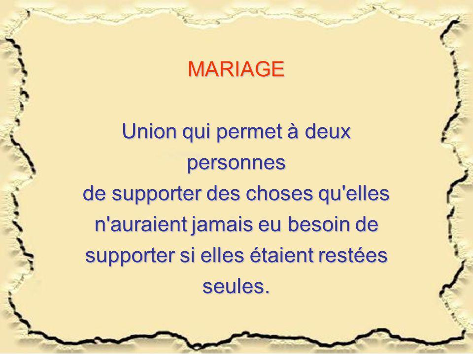 Union qui permet à deux personnes