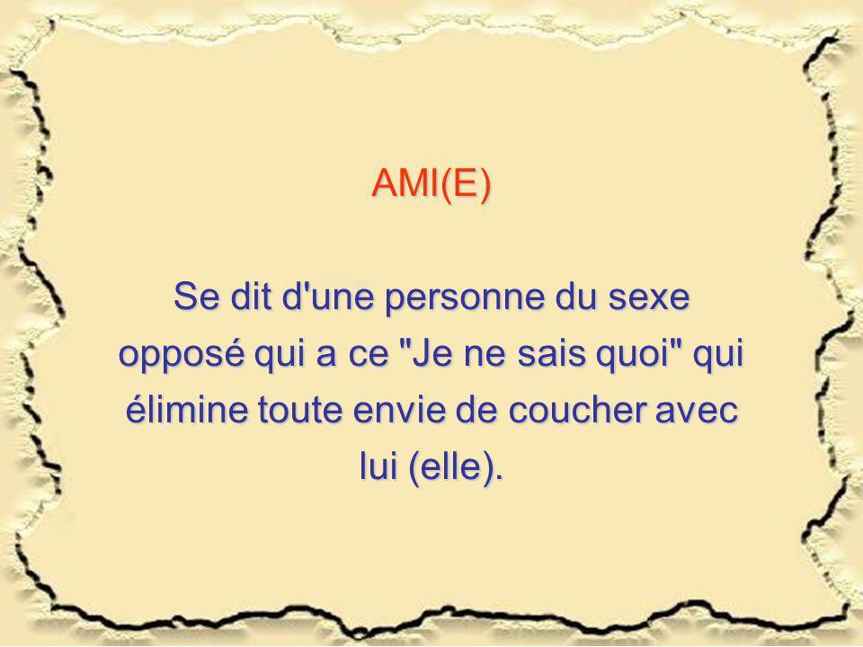 AMI(E) Se dit d une personne du sexe opposé qui a ce Je ne sais quoi qui élimine toute envie de coucher avec lui (elle).