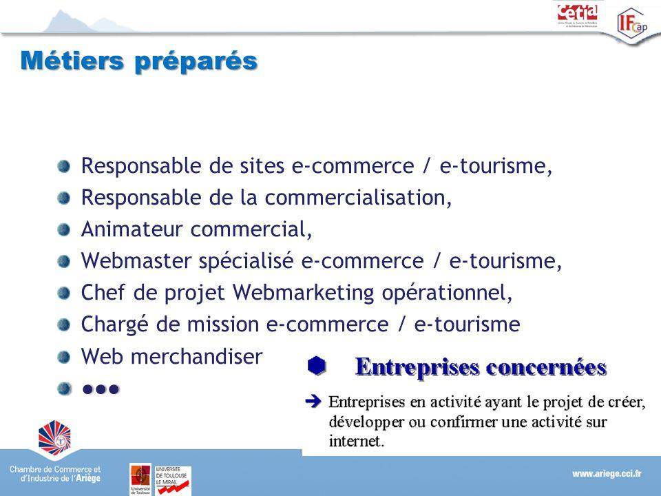 Métiers préparés Responsable de sites e-commerce / e-tourisme,
