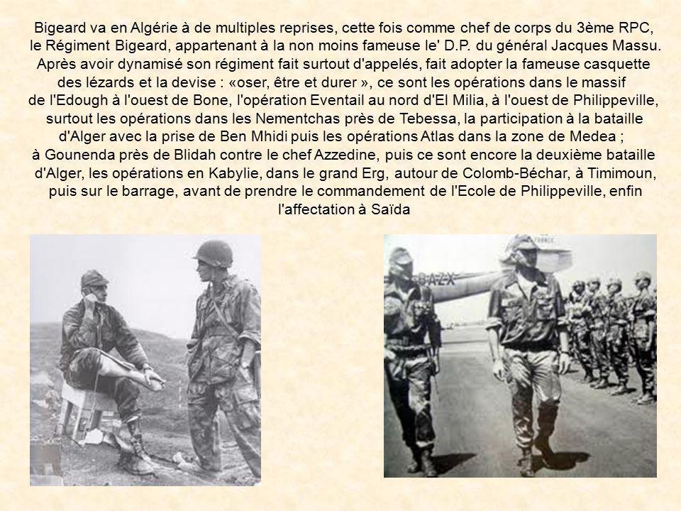 Bigeard va en Algérie à de multiples reprises, cette fois comme chef de corps du 3ème RPC,