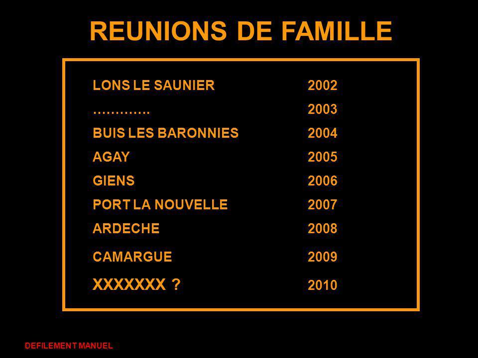 REUNIONS DE FAMILLE XXXXXXX 2010 LONS LE SAUNIER 2002 …………. 2003