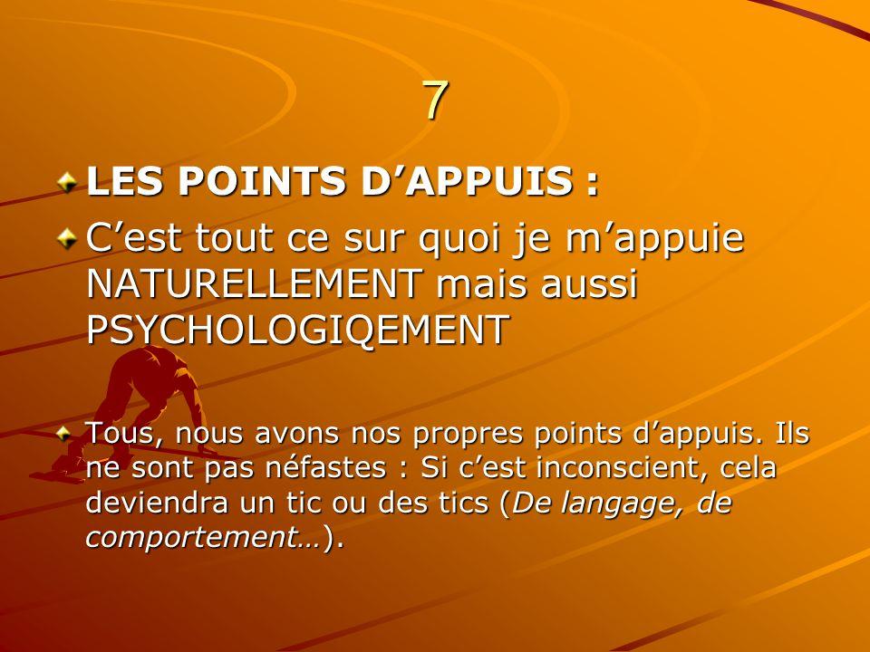 7 LES POINTS D'APPUIS : C'est tout ce sur quoi je m'appuie NATURELLEMENT mais aussi PSYCHOLOGIQEMENT.