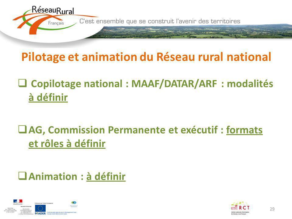 Pilotage et animation du Réseau rural national