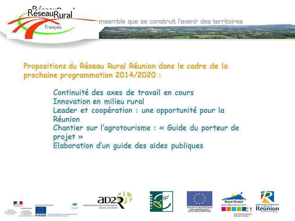 Propositions du Réseau Rural Réunion dans le cadre de la prochaine programmation 2014/2020 :