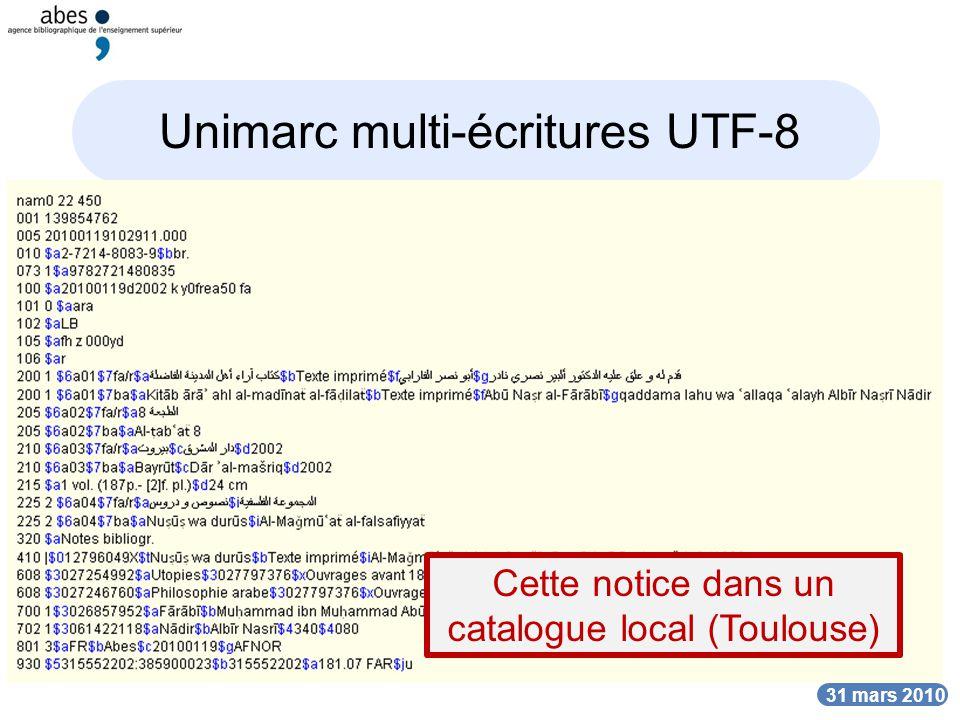 Unimarc multi-écritures UTF-8
