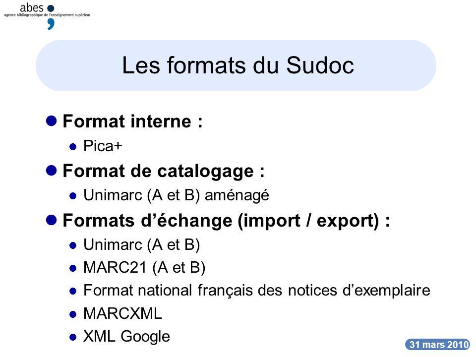 Les formats du Sudoc Format interne : Format de catalogage :