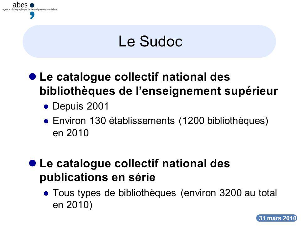 Le Sudoc Le catalogue collectif national des bibliothèques de l'enseignement supérieur. Depuis 2001.