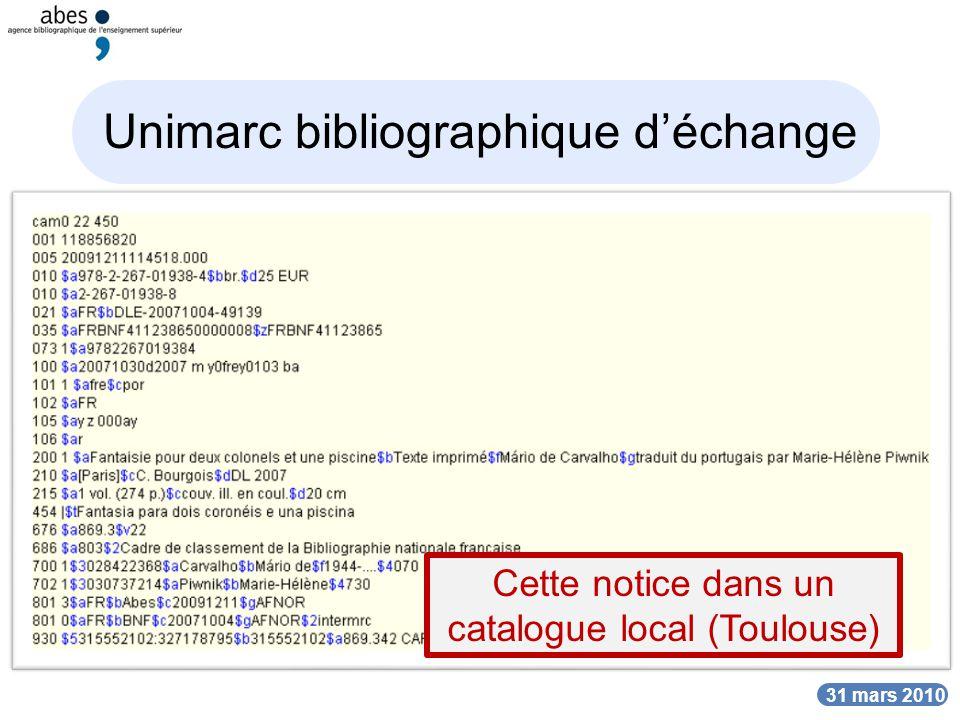Unimarc bibliographique d'échange