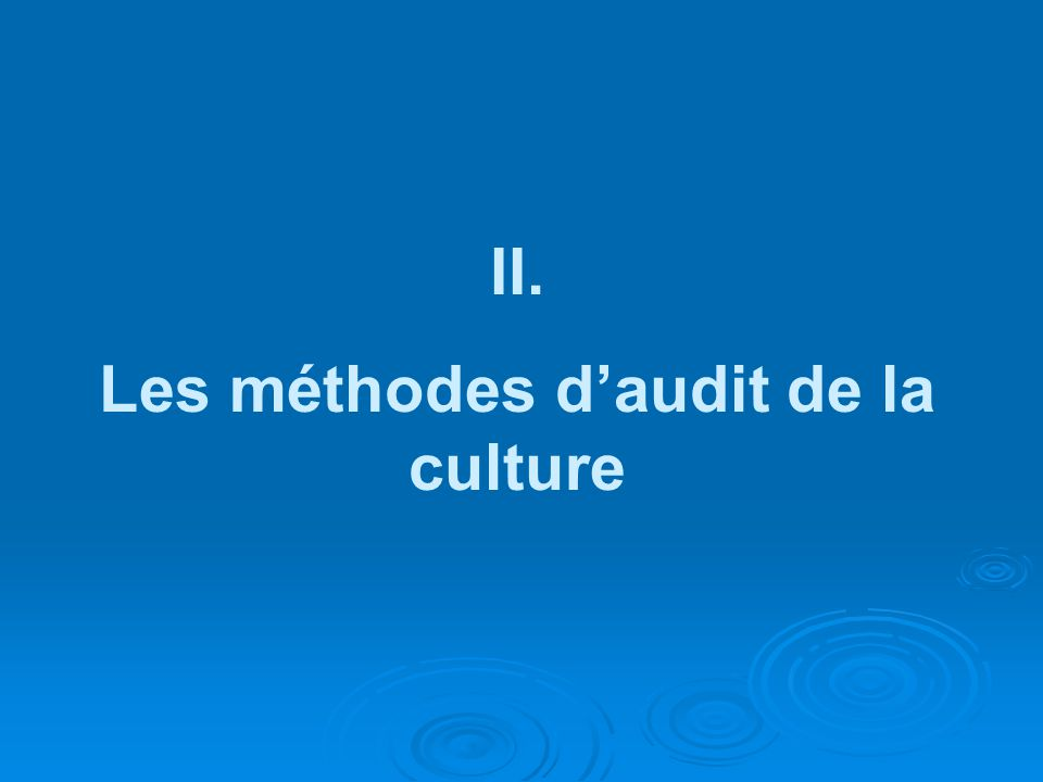 Les méthodes d'audit de la culture