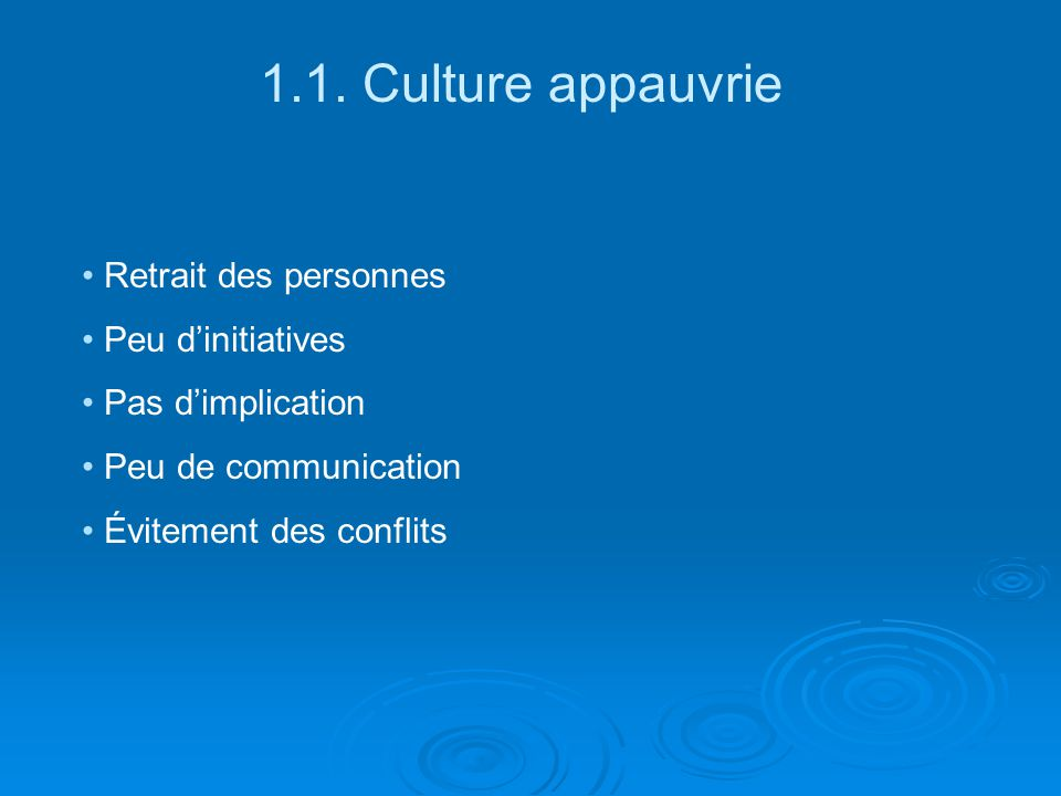1.1. Culture appauvrie Retrait des personnes Peu d'initiatives