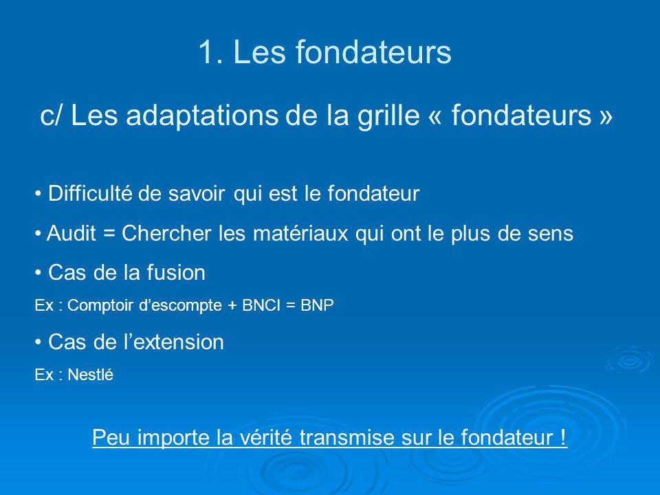 1. Les fondateurs c/ Les adaptations de la grille « fondateurs »