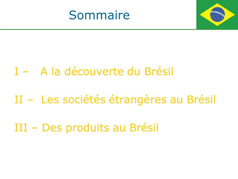Sommaire I – A la découverte du Brésil