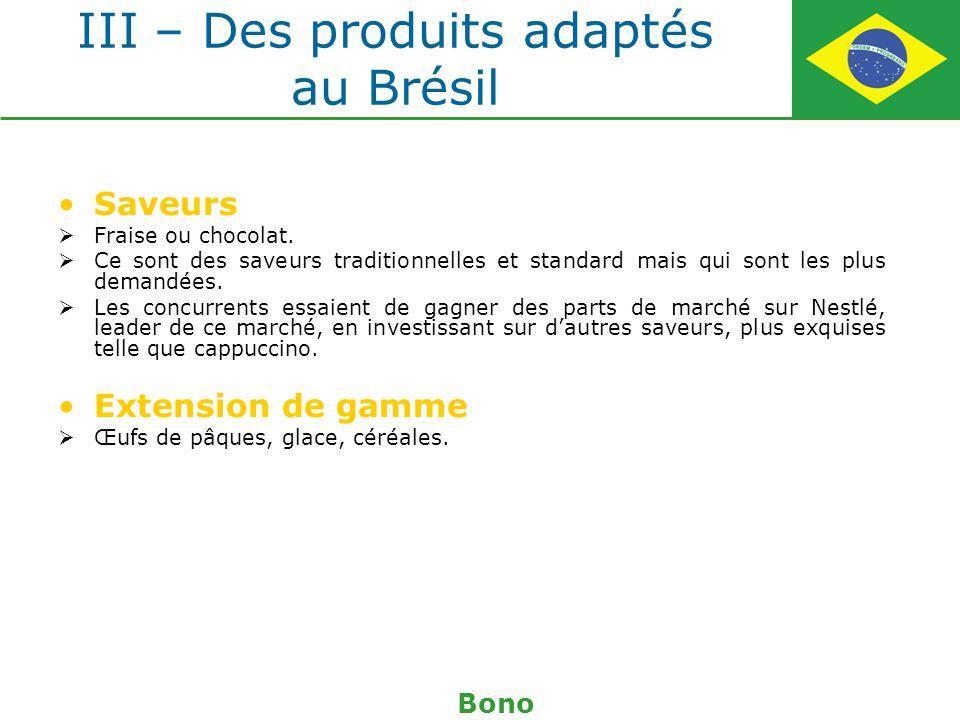 III – Des produits adaptés au Brésil