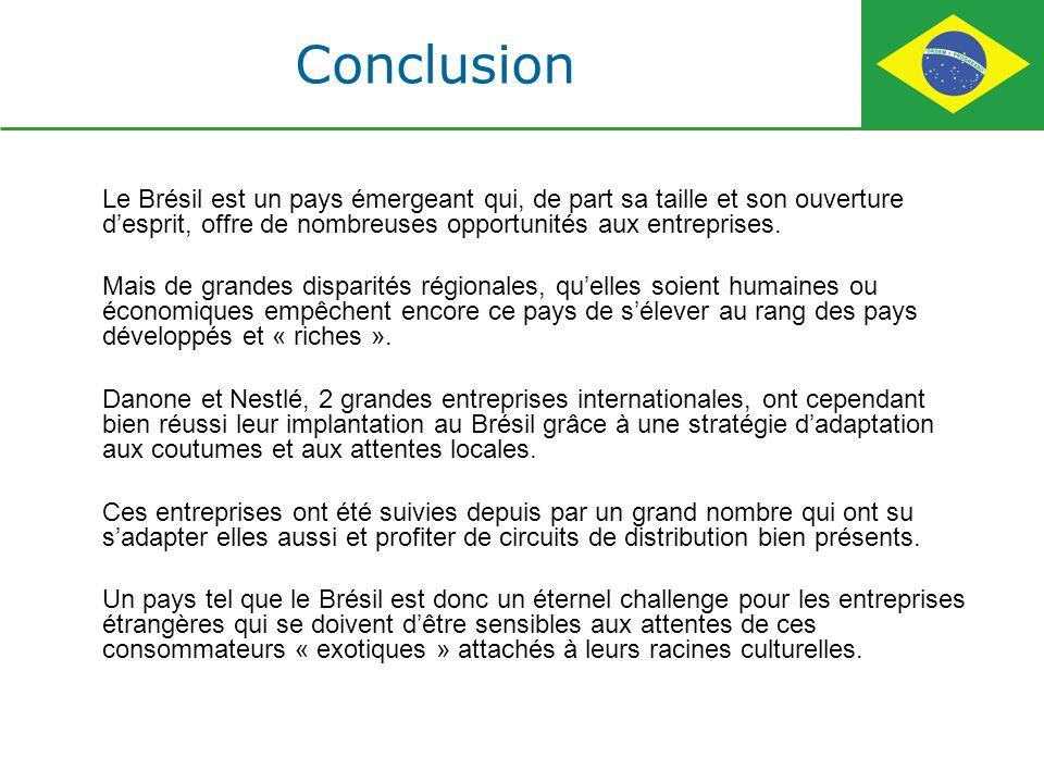 Conclusion Le Brésil est un pays émergeant qui, de part sa taille et son ouverture d'esprit, offre de nombreuses opportunités aux entreprises.