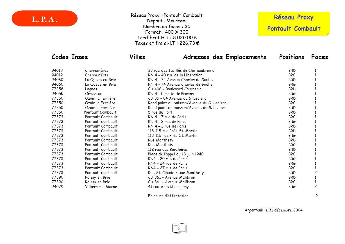 L. P. A . Réseau Proxy Pontault Combault