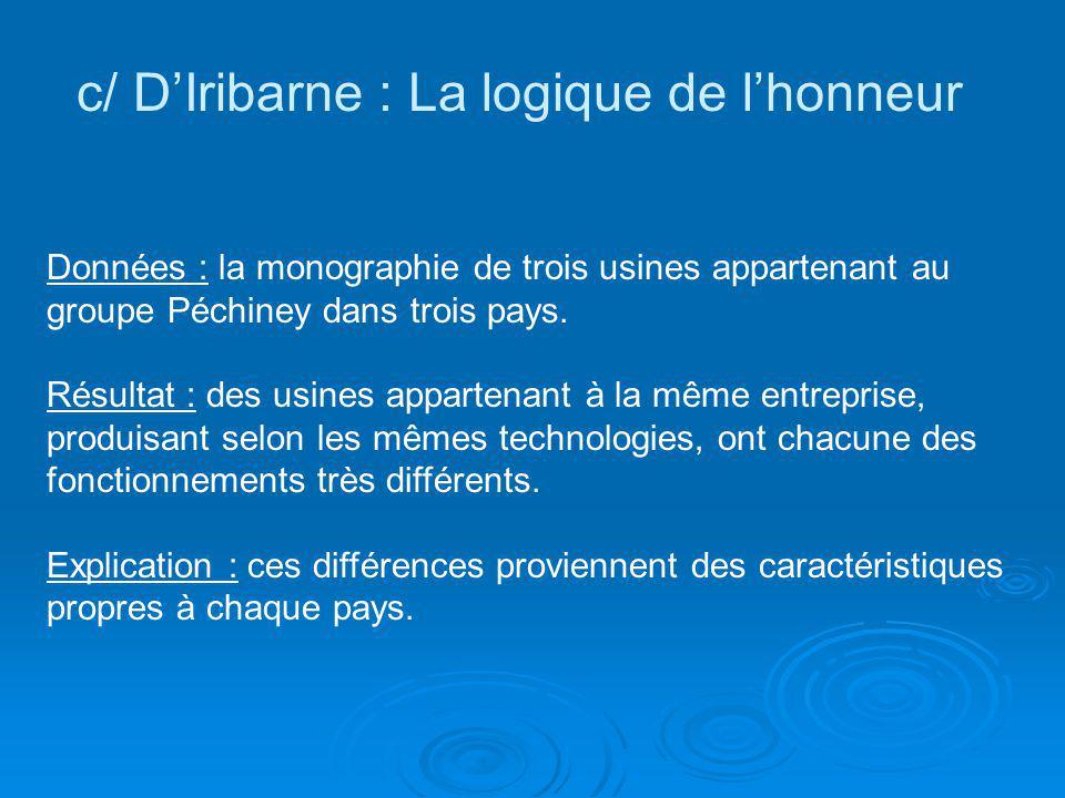 c/ D'Iribarne : La logique de l'honneur