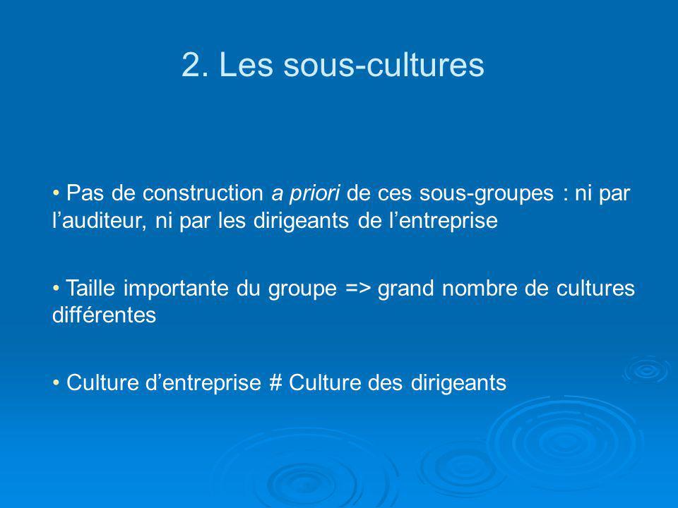 2. Les sous-cultures Pas de construction a priori de ces sous-groupes : ni par l'auditeur, ni par les dirigeants de l'entreprise.