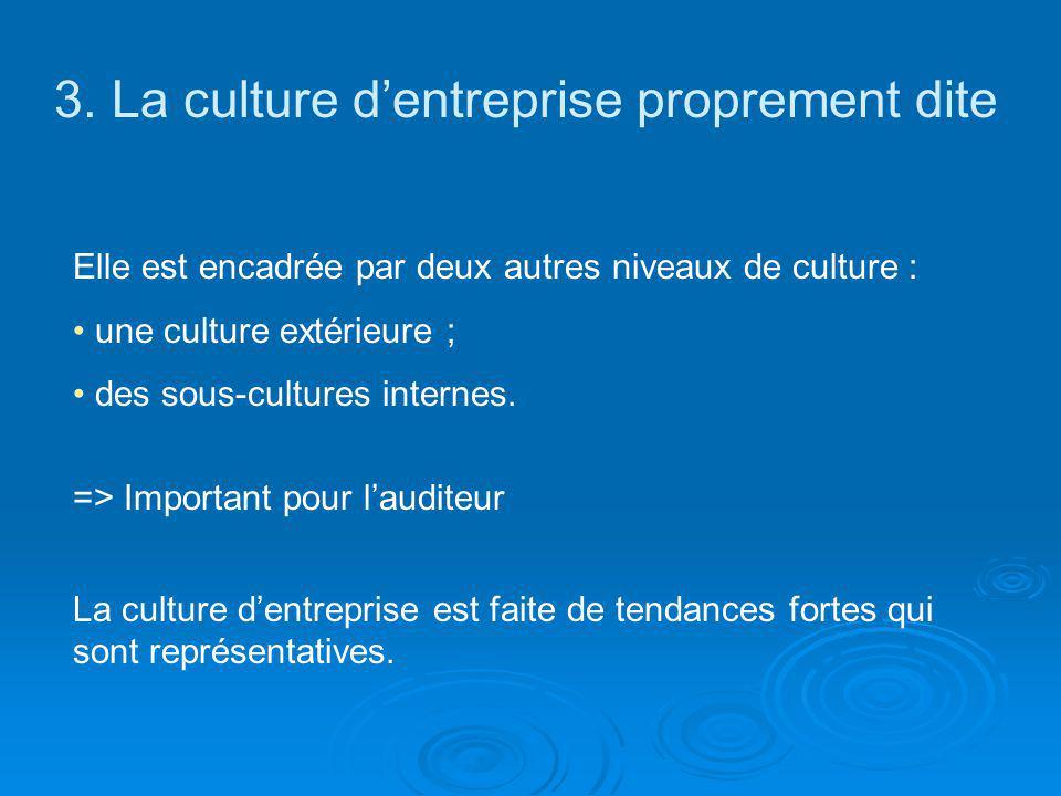 3. La culture d'entreprise proprement dite