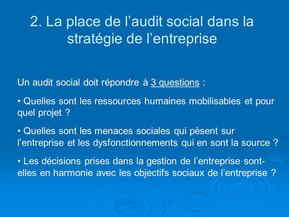 2. La place de l'audit social dans la stratégie de l'entreprise