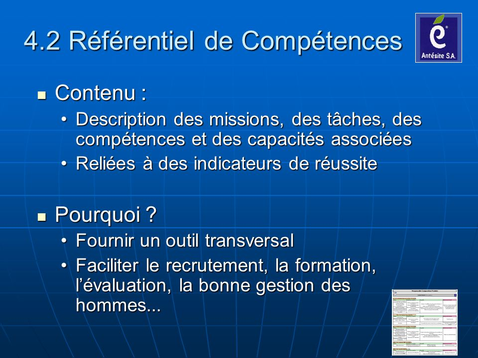 4.2 Référentiel de Compétences