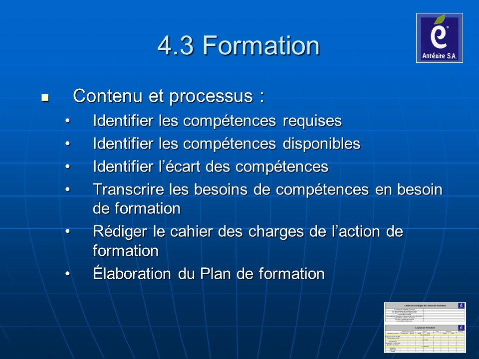 4.3 Formation Contenu et processus :