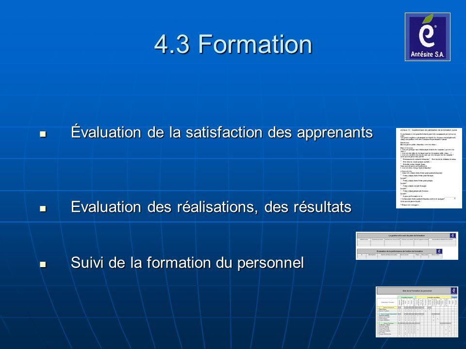 4.3 Formation Évaluation de la satisfaction des apprenants